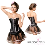 Black Pink Satin Corset Skirt Set