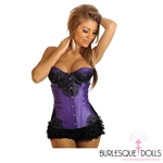 Purple Satin Black Brocade Lace Corset