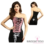 Black Red White Plaid Gingham Over Bust Corset