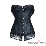 Black Embroidered Lace Fringed Corset
