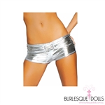 The most daring metallic silver hot pants or boy leg shorts.  Stretch polyester fabric with a in-built belt and diamond buckle detail.