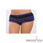 The cutest, cheekiest black and blue ruffle panties or boy leg shorts.  The panties have layered black and blue ruffle with a blue elastic trim, and bow. Suitable to wear over fish net stockings with a gorgeous burlesque corset or under the sexy costume