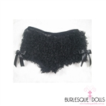 The cutest, cheekiest black mesh ruffle panties or boy leg shorts.  The panties have layered black ruffle with side bows.  Suitable to wear over fish net stockings with a gorgeous burlesque corset or under the sexy costume.