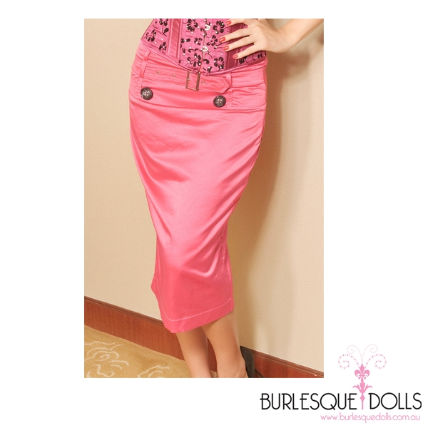 Pink Satin Pencil Skirt 92