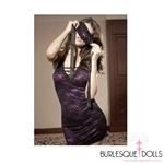 Purple Black Lace Halter With Mask