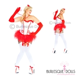 Red White Classic Naughty Nurse Burlesque Costume