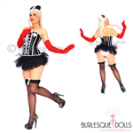 Black White Naughty Nurse Burlesque Costume