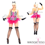Hot Pink Black Zebra Girl Burlesque Costume