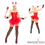 Sexy Red Sequin Devil Burlesque Costume