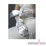 White Long Satin Lace Bow Gloves