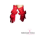 Red Long Satin Lace Bow Gloves