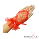 Red Lace Diamond Fingerless Gloves
