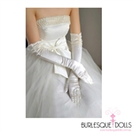 White 3/4 Long Satin Beaded Gloves