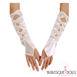 White Satin Fingerless Diamond Hole Gloves