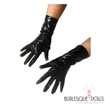 Black Wet Look Vinyl Short Gloves