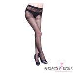 Full Brief Black Sheer Garter Pattern Stockings