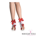 White Heart Lace Red Bow Socks