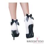 White Lace Black Bow Socks