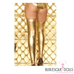 Gold Metallic Stretch Vinyl Thigh Highs