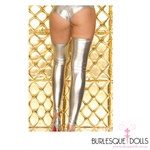 Silver Metallic Stretch Vinyl Thigh Highs