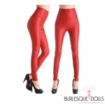 High Waisted Red Stretch Vinyl Leggings