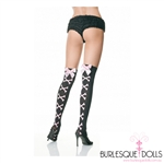 Black Sheer Pink Cross Bone Bow Thigh Highs
