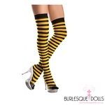 Black and Yellow Thigh High Socks