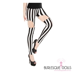 Black White Striped Suspender Tights