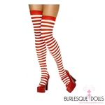 Red White Candy Cane Thigh High Socks
