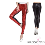 Red Sequin Black PVC Leggings
