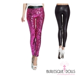 Hot Pink Sequin Black PVC Leggings