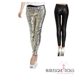 Gold Sequin Black PVC Leggings