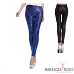 Blue Sapphire Sequin Black PVC Leggings
