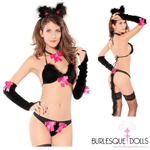 Hot Pink Black Cat Bikini Costume