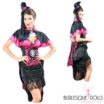 4-Piece Pink Lace Victorian Vampire Costume