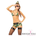 4-Piece Sexy Military Army Burlesque Costume Set
