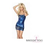 Sequin Navy Silver Mini Dress