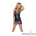 Fully sequined, stretch polyester, pink, purple and silver showgirl mini dress with adjustable black elastic straps. and lace up back. One size fits most (elastic fabric).