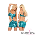 Sequin Blue Buckle Cut Out Mini Dress