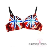 British Union Jack Sequin Flag Bra