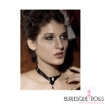 Stunning black satin collar with cameo feature in the centre and jewel pendant