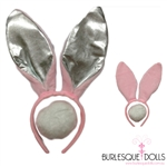 Fluffy Pink Metallic Playboy Bunny Ears