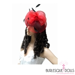 Classy red felt beret with round mesh facial cover, red bow and black feather detail.  The fascinator also features two metal clips for easy placement.