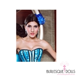 Electric Blue Rose Feather Mini Top Hat