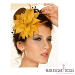 Brown Gold Flower Feather Beaded Mini Top Hat