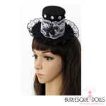 Black Felt Lace Spider Mini Top Hat