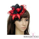 Red Beaded Lace Mini Top Hat