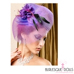 Purple Mesh Flower Feather Fascinator