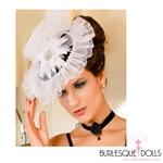 White Victorian Round Feather Fascinator