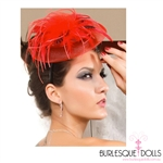 Red Feathered Headband Beret